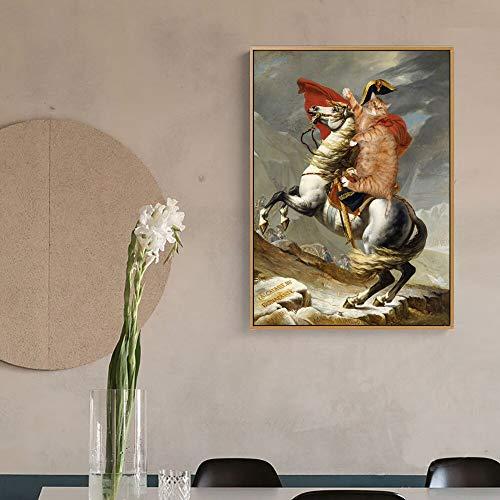 Handaxian Reproducción Interesante y Famosa de Mona Lisa, Mural de Retrato y Lienzo de Arte Animal para decoración del hogar, 50x75 cm sin Marco