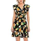 Vestido sin Mangas con Volantes y Estampado Floral con Cuello en V para Mujer de Verano Vestido de Playa Piña Negra M