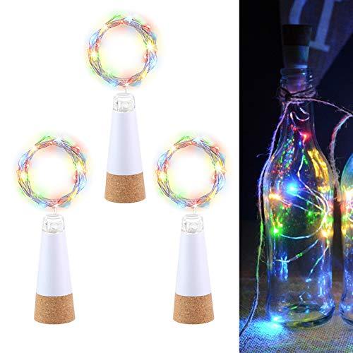 LED Luci Bottiglia Tappo Multicolore, USB Ricaricabile Nessuna batteria Richiesta, 2M 20 LED Catene luminose per Natale Halloween Regalo, Luci da esterno Festa Nozze Vacanza Decorazione (3 Pezzi)