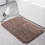 Alfombra de baño de fibra pelusa cómoda y suave, antideslizante absorbente alfombra de baño, tapete de ducha y baño, 40 x 60 cm