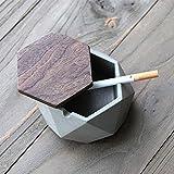 AMITD Aschenbecher mit Deckel für Draussen Grau Zement Dekoration Wohnung,118 * 55mm,Grau - 2