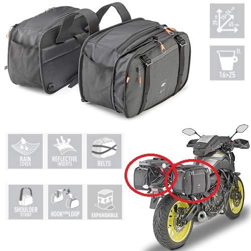 Compatible con HYOSUNG Grand Prix Plus 125 Pareja Bolsa Lateral para Motos Scooter Kappa AH202 29X15>24X45CM Universal Negro