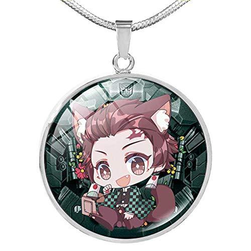 AZYVv Anime Démon Tueur Collier Cuisine Porte Tanjiro Ma Femme Zenyi Mignon Verre Pendentif Collier Clavicule Chaîne Unisexe