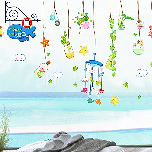 DSSJ Adesivi murali Bottiglia alla deriva di Colore del Fumetto Scuola Materna Aula Camera dei Bambini Camera da Letto Soggiorno Porte in Vetro e Adesivi per finestre