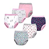 BIG ELEPHANT Baby Girls' Toddler Potty 6 Pack Padded Pure Cotton Pee Training Pants Underwear