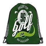 Lsjuee Ligero Senderismo Natación Playa Mochila Con Cordón Bolsa Pelota De Golf Clubes Logotipo Tela Deportiva Club Inglés Banner Imprimir Ropa...