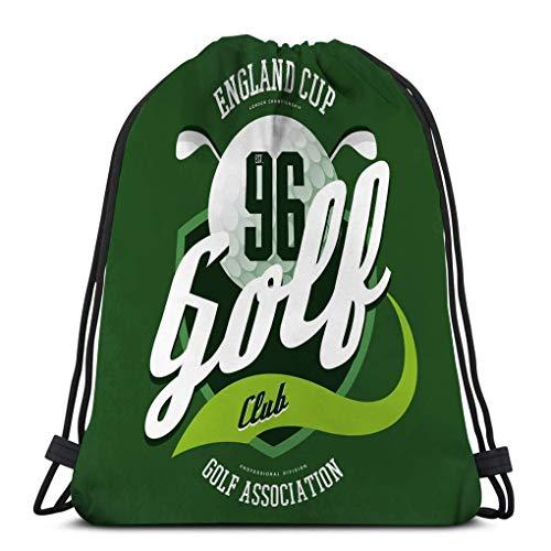 Kordelzugbeutel Kordelzug Rucksack Turnbeutel Golfball Clubs Logosport Stoff Englisch Club Banner Print Kleidung Werbung Sportler tragen sportlich Beutel 36X43CM