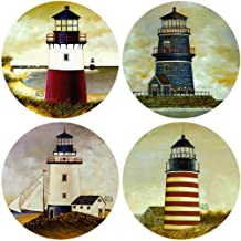 CoasterStone AS2080 Absorbent Coasters, 4-1/4-Inch,Lighthouses, Set of 4