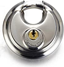 Trisonic Ultra Protective Disc Padlock, Heavy Duty Round Padlock with Shielded Shackle, Stainless Steel Keyed Lock, 2-3/4-inch
