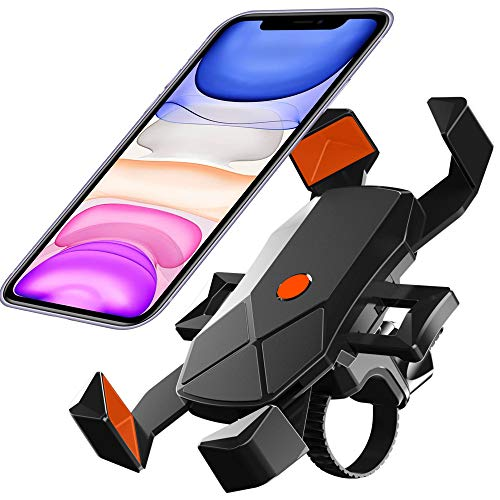 Bike Phone Mount, Motorcycle Phone Holder,Universal Adjustable Bicycle Cycling Handlebars for iPhone 12,11 Xs Max XR X 8 7 6 Plus, Samsung S10+ S9 S8, Note 10 9 8, GPS, 4-7 inches Android Cell Phone