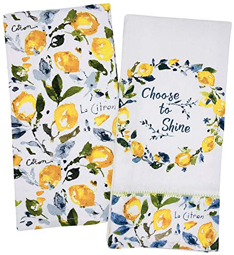 Choose to Shine Lemon Le Citron Kitchen Towels, Set of 2 Zest of Happy Lemons on Stem Dish Towels for Cooking, Baking, Lemon Kitchen Decor, Lemon Kitchen Towels