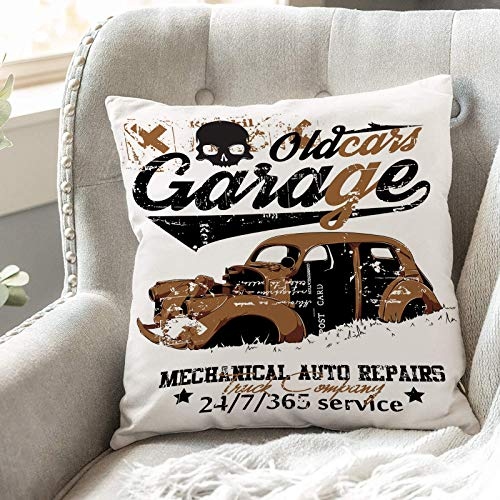 Cushion Covers 45cm x 45cm,Cars,Old Garage Mechanical Auto Repairs Truck Company Skull Grung,18x18 inches Soft Polyester Square Decorative Throw Pillow Cases for Living Room Sofa Couch Bed Pillowcases
