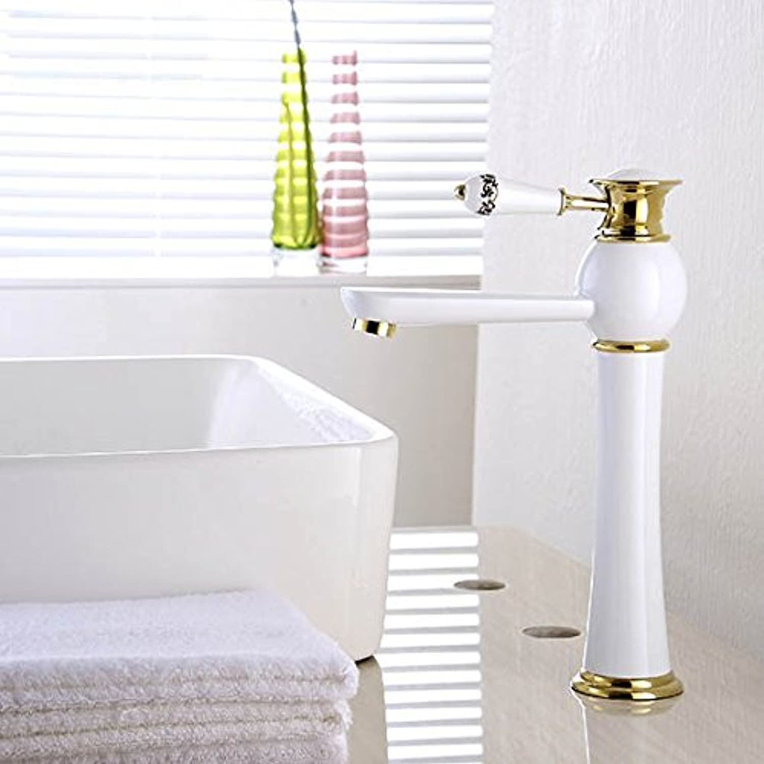 U-Enjoy White and gold Top Quality color Waterfall Faucet Tall Bathroom Faucet Mixer Tap with Hot and Cold Sink Faucet (Free Shipping)