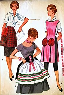 McCalls 2407 Misses' Aprons International Theme: Dirndl, Oriental, Scottish Kilt Style Sewing Pattern Vintage 1960