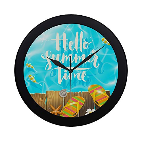 Modern Simple Hello Summer Time Handwritten Quote Calligraphy Pattern Wall Clock Indoor Non-ticking Silent Quartz Quiet Sweep Movement Wall Clcok For Office,bathroom,livingroom Decorative 9.65 Inch