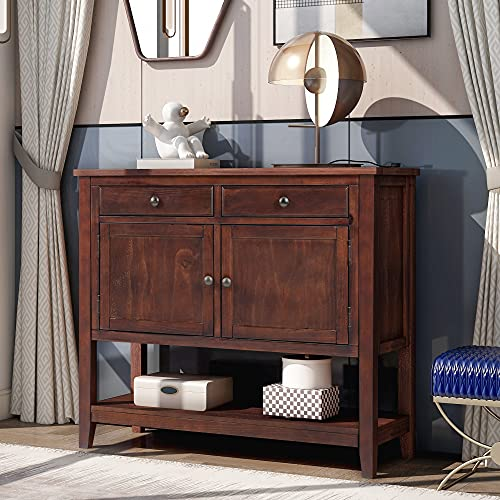 Modern Console Table Sofa Table, Wooden Entryway Table for Living Room, Door Entry Table with 2 Drawers, 2 Cabinets and 1 Shelf (Espresso)