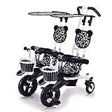CHEERALL Cochecito de bebé Doble Triciclo de Dos Ruedas Ligero para niños con Dosel Desmontable, Seguro y cómodo para niños de 6 Meses a 4 años