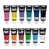 Sudor Acrylfarben Set 12 x 75 ml. Wasserfeste Acrylfarbe zum Malen auf Holz, Leinwand und Steinen, für Kinder, Hobbymaler und Studenten