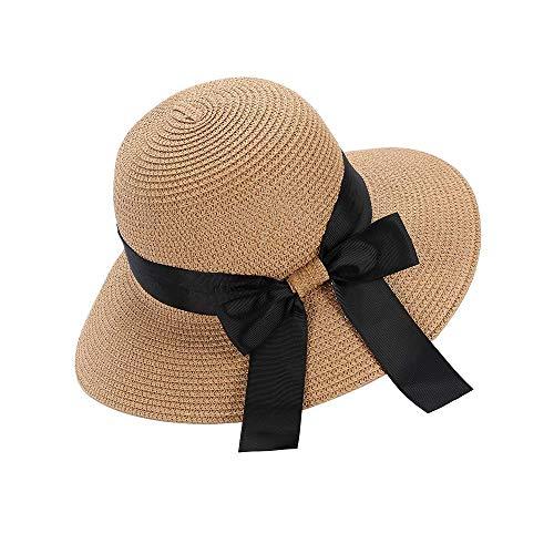 Sombrero Sol de Paja de Las Mujeres Verano Playa Algodón Protección ala...