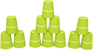 "Trademark Innovations Large 3.5"" x 4.4"" Tall Quick Stack Cups - Speed Training Sports Stacking Cups - Set of 12 (Green)"