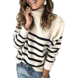 Angashion Women's Sweaters Casual Long Sleeve Crewneck Color Block Patchwork Pullover...