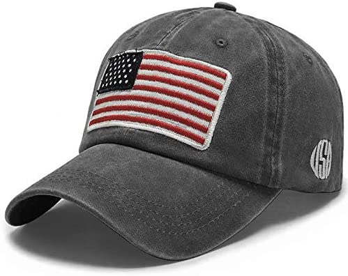 Uphily Black USA American Flag Baseball Cap Low Profile Patriotic Dad Hat for Men or Women product image