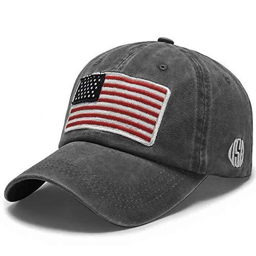 Uphily Black USA American Flag Baseball Cap, Low Profile Patriotic Dad Hat for Men or Women