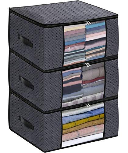 homyfort Bolsa de Almacenamiento 3 Piezas - para Edredones Ropa Debajo de la Cama, Alta Densidad de Tela Bolsa de Almacenamiento con Cremallera y Asas, Plegable, 50 x 40 x 25 cm, Gris Oscuro,X3GR50S