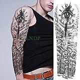 tzxdbh 3pcs-Impermeable Etiqueta Mariposa cráneo Tatuaje Temporal Flor Hermana Brazo Tatto Tatoo Grandes Tatuajes para Las Mujeres de los Hombres 3Pcs-