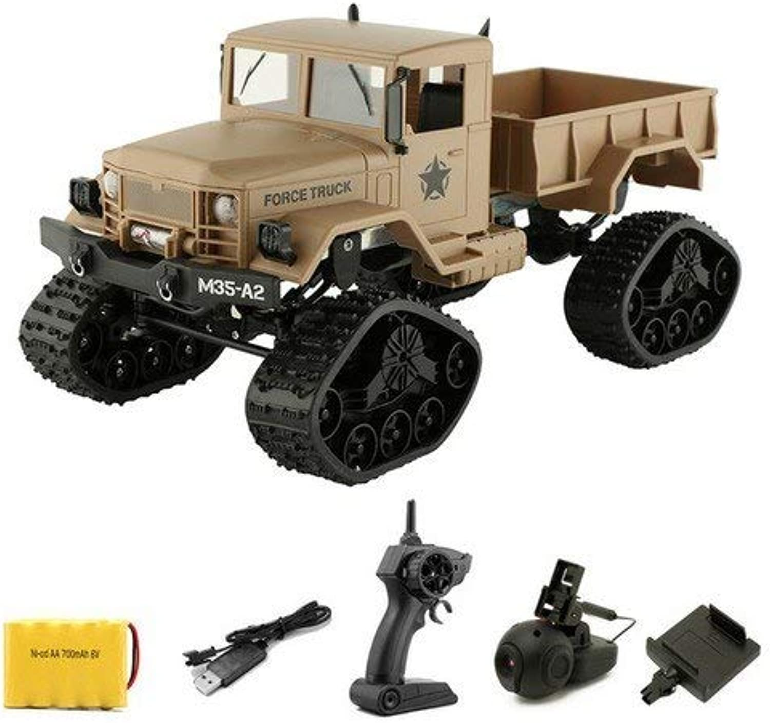 Generic 2.4G High Speed Military Truck WiFi HD Camera 4WD 1 16 Remote Control car Replaceable Wheel OffRoad RC Climbing Car VS WPL B16 Yellow with Camera