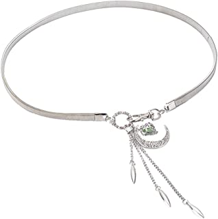 SGJFZD Spring and Summer New Moon Hook Gold and Silver Pendant Waist Chain with Skirt Belt Sweater Waist Chain (Color : Silver, Size : 68cm)