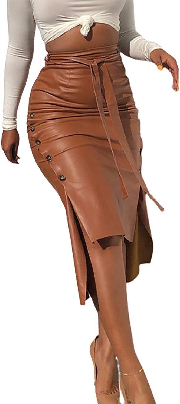 Ninimour Women Fashion Buttoned Slit PU Leather Midi Skirt