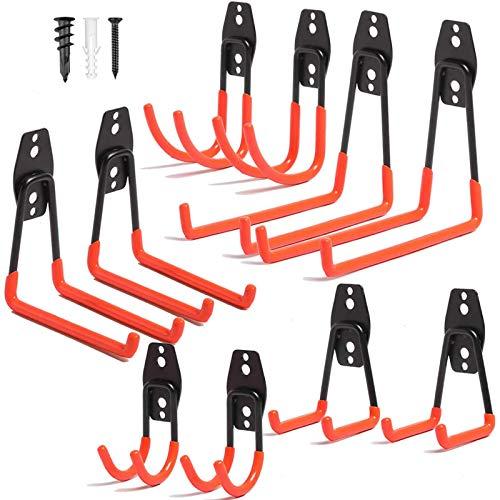 SCJ Paquete de 10 Ganchos de Acero para Garaje, Gancho de Almacenamiento de Doble Acolchado Resistente para Bicicletas, garajes, cobertizos, escaleras y Herramientas