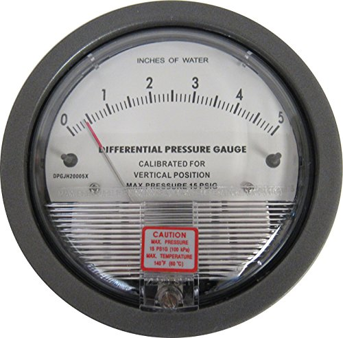 Differential Pressure Gauge, 0-5 Inches WC