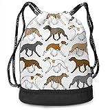 Ovilsm Turnbeutel Hipster Sporttaschen Trotting Whippet Border Pattern Drawstring Bag Rucksack...