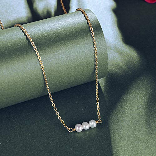 Befettly Womens 3 Mini Pearls Choker Necklace Handmade 14K Gold Fill Cute Elegant Simple Women Dainty Necklace CK2-3Pearls