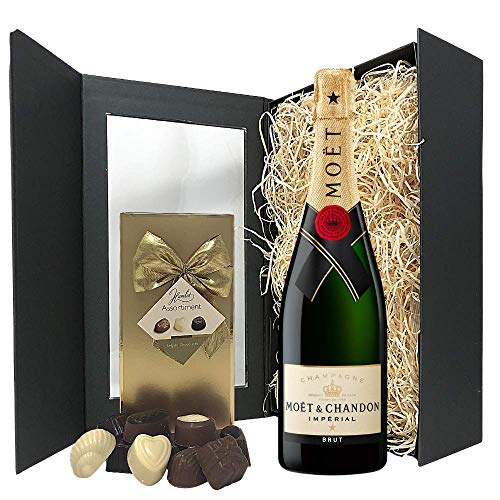 Champagne Gift Set - Moet and Chandon Champagne and Chocolates Gift Hamper Box - Birthday, Christmas Gifts for Champagne Lovers
