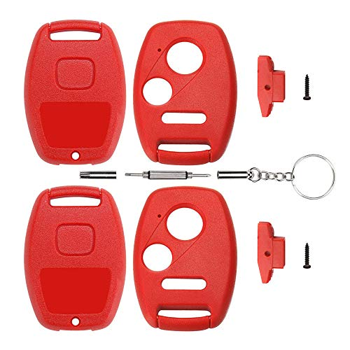Cutting Not Required - 2 Replacement Key Fob Keyless Entry Remote Shell Case for Honda Civic/Accord/CR-V/Fit/Odyssey/Pilot/Ridgeline/CR-Z Car Key Fob Cover (2+1 Button, 2pc Red)