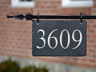 HANGING HOUSE NUMBERS CARVED SLATE/Stone Address Plaque Marker Lampost Lamppost Mailbox #3H