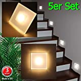 5er Set LED Design Warmwei SUN-LED Max 3W 100x100mm Glas-Alu Hochwertig Treppenlicht Wand Stufen Treppen Beleuchtung