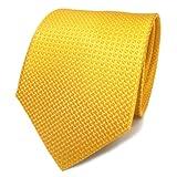 TigerTie diseñador corbata de seda de satén en - amarillo dalias amarillas plata lunares