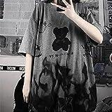 Cyuang Japón Gris Tshirt Streetwear Suelto Summer T Shirt Mujer Harajuku Punk Mangas Cortas Camisetas Tops tee Hip Hop Tshirt Muchachas-Gris_2XL