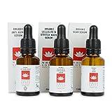 3-in1 ORGANISCHES ANTI-AGING BEAUTY-SET | Derma-Rollen (25 ml) + Narben-Serum (25 ml) + Dehnungsstreifen & Cellulitis-Serum (25ml) | Bekämpfen Sie 3 Hautprobleme mit unserem 3fach effektivem Schönheits-Paket + entdecken Sie die regenerativen Vorteile von Grünem Tee-Öl