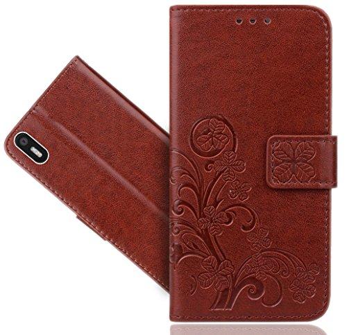 BQ Aquaris X5 Handy Tasche, FoneExpert® Blume Wallet Hülle Flip Cover Hüllen Etui Hülle Ledertasche Lederhülle Schutzhülle Für BQ Aquaris X5