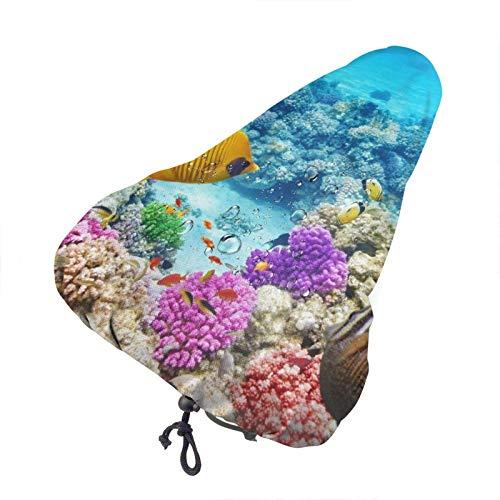 Funda para asiento de bicicleta con estampado de coral y peces de mar, funda impermeable para asiento de bicicleta, funda para la lluvia, funda de cojín para asiento de bicicleta resistente al polvo