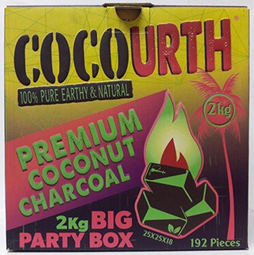 Hookah Natural Coconut Charcoal 192 Pieces Flats Coco Urth 2 Kilo Shisha Coal Party Box