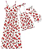 Herimmy Mommy and Me Dresses Floral Printed Matching Outfits Chiffon Sleeveless Dress for Mother and Daughter Red-White