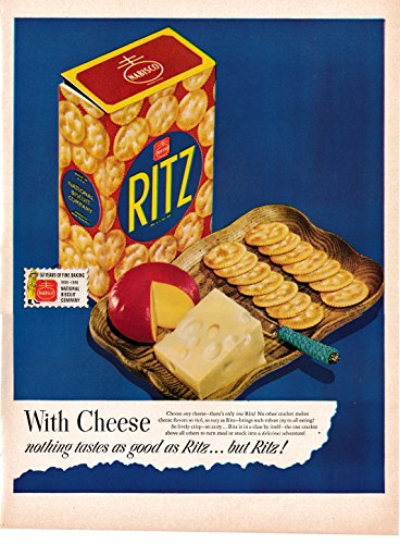1948 Ritz Crackers With Cheese-Nabisco Biscuit Original 13.5 * 10.5 Magazine Ad-