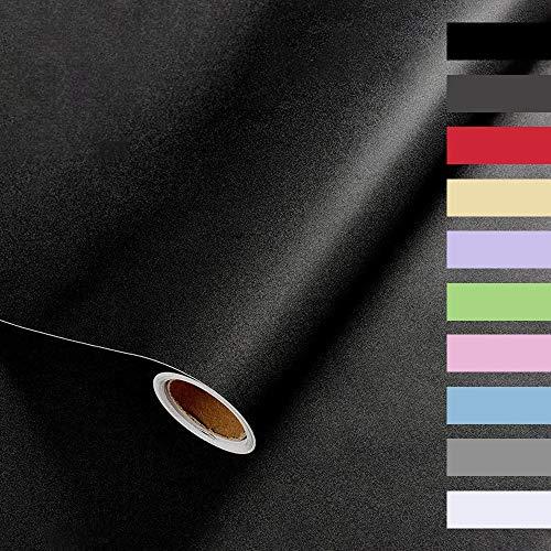 Auckpure Selbstklebende Folie, Klebefolie Möbel, Wandschutzfolie 40X350cm, Tapete Selbstklebend, Wasserdichtes Möbelfolie, Zum Schutz Oder zur Renovierung von Möbeln, Wänden und Tischplatten(Schwarz)