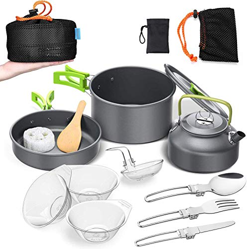 BGVANG Camping Cookware Mess Kit Portable Outside Camping Cooking Set Lightweight Camping Pots and Pans Non-Stick Kettle Outdoor Camp Cook Set for Backpacking Outdoor Camping Hiking and Picnic